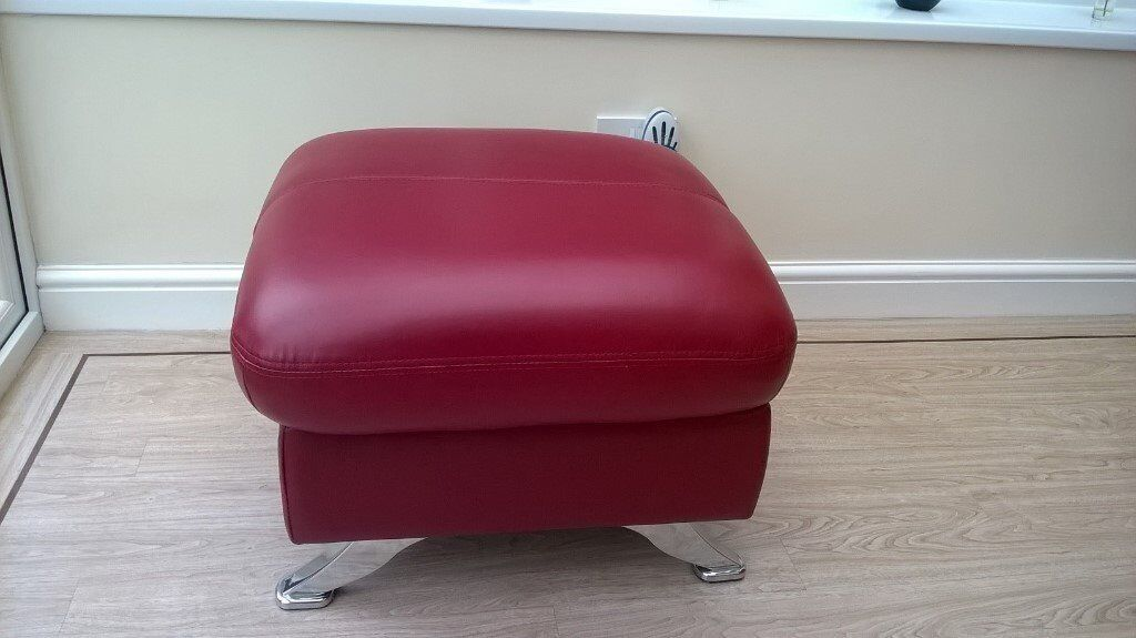 Foot Stool/Pouffe. Red Leather.