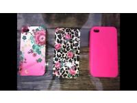 I phone 4 Accessorize cases and 1 free neon pink case