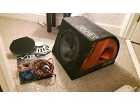 SUB WOOFER WITH CABLES AND SPEAKERS