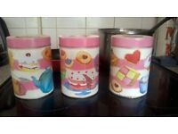 EMMA BALL TEA COFFEE SUGAR TIN CANISTERS LOVELY