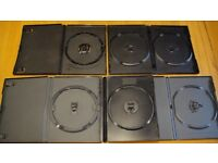 100 MIXED RETAIL DVD CASES CLEAR/BLACK/GREY/DOUBLE AMARAY FLEXBOX ETC