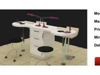 Double nail desk with build in lamps and extractors