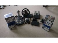 PS2 console, 3 controllers, 58 games, guitar hero, steering wheel with pedals