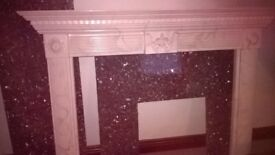 MARBLE TYPE FIRE SURROUND PLUS BACK PLATE AND HEARTH IN GRANITE