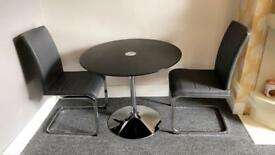 Tempered glass dining table & 2 chairs
