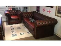 🎉🔥 immaculate Genuine antique leather club chair sofa suite brown oxblood