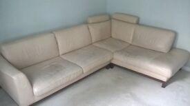 Italian cream soft leather L shape sofa with headrests