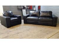 HARVEYS BLACK LEATHER SOFA SET IN NICE CONDITION 3+1 seater