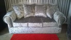 Brand New Silver Crushed Velvet 3+2 Brand New Still In Wrappers £375 Can Deliver