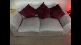 Silver crushed velvet sofas 3+2