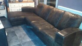 Very sturdy and comfortable large brown leather sofa - Good Condition