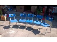 Plastic chairs with metal legs