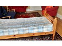 Bed, single, pine, plus mattress