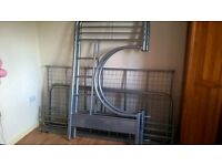 metal frame high sleeper bed with futon