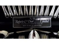 Roberts and Dore (Sheffield) Ltd. 44 piece canteen of silver plated cutlery.