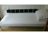 SINGLE, DAYBED FRAME, WHITE, METAL WITH MEMORY FOAM MATTRESS