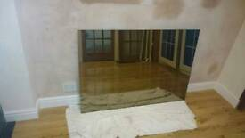 """50"""" x 47"""" Large Tinted glass mirror with homemade frame available if required"""