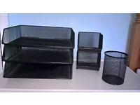 Desk Tidy, all black metal mesh. 3 stacking A4 trays, 2 stacking hopper for bits, 1 pen bin