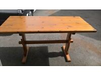 Solid pine rectangular table also have chairs for sale