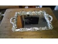 nice mirrored tray with berries around the edges £20