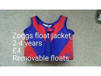 Zoggs float jacket age 2-4