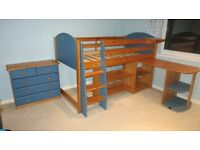 Children's midsleeper bed set, inc wardrobe, desk, drawers and shelves, good condition.