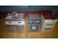 Assorted kids toys: Toy kitchen, doll cot, and assorted plastic animals, kids cash register & abacus