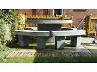 Terrazzo Garden Table & Benches Set. Oval Table & 4 Benches