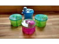 Powdered Milk Formula Dispenser Four x4 Munchkin and Boots Colourful Baby Toddler Child Kid Children