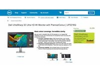 """New Dell 32"""" 4K Monitor Swap For a iMac or Macbook Pro or Gaming Laptop"""
