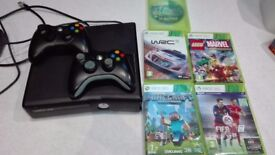 XBOX 360, 2 controllers and 5 games