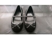 BLACK & SILVER SPARKLY GIRLS BALLERINA STYLE SHOES
