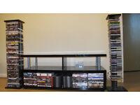 Black gloss TV table, DVD/CD rack & DVD collection