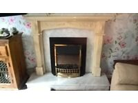 cream marble effect fire surround, grey heavy hearth and back panel, electric fire, coal effect.