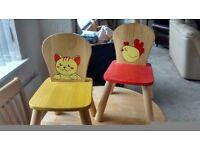 A PAIR OF KIDS WOODEN CHAIRS