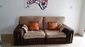 LIGHT BROWN CHENILLE FABRIC 3 SEATER SOFAS.