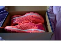 coral colour Asics gel size 5 worn once for a short while