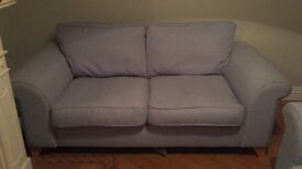 PRICE REDUCED 3&2 seater sofa, duck egg blue with pine feet from dfs