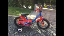 """Red Bike 14"""" age 3-5 years with stabilisers"""