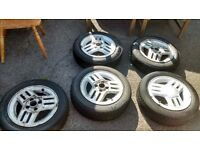 "GENUINE 14"" NOVA SRI GTE ALLOY WHEELS x5,WILL FIT CORSA C ,TWO GOOD TYRES ,TWO AVERAGE"
