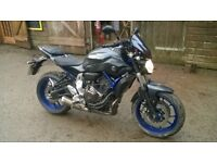 Yamaha MT-07 4,000 miles, 6 months Warranty plus extras