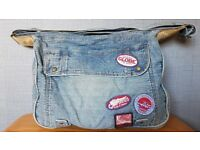 Stonewashed Denim Messenger Bag Man Bag Shoulder Bag
