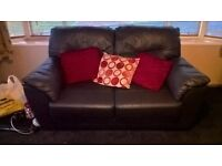 leather three and two seater sofa
