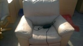 Real leather electric recliner armchair