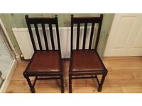 Vintage Antique Twisted Barley 1920s Wooden Chairs Pair