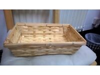 Bamboo Natural Colour Wicker Bread Basket Storage Hamper Display Tray