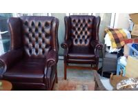 Leather, custom made button back chairs