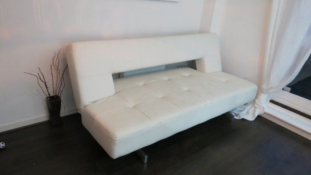 Dwell Pisa Sofa Bed faux white leather in Hyndland Glasgow