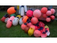 FISHING BUOYS - SELECTION OF 38 OR SO FISHING BUOYS AND FENDERS OF VARIOUS SIZES