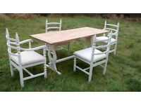 large refectory solid oak table with 4/6 chairs